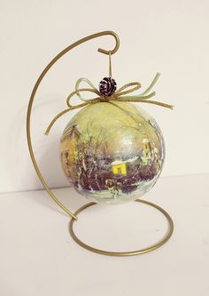 Christmas ball with metallic base/decoupage ball/Christmas decor/unique gift by Thoulie on Etsy