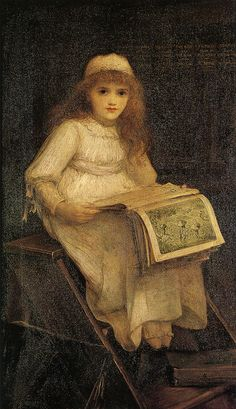 "Charles Edward Hallé (British, 1846-1914) - ""In Fairy Land"" [""... The present picture shows a rather 'aesthetically' clad little girl seated on a set of library steps. On her knees is a copy of 'In Fairy Land' (1870), a collaboration between William Allingham, who wrote the verses, and Hallé's old friend Richard Doyle, who was responsible for the illustrations...""]"