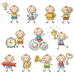 Buy Cartoon Boys by katya_dav on GraphicRiver. Cartoon child with different objects Cartoon Boy, Cartoon Pics, Cute Cartoon, Art Drawings For Kids, Drawing For Kids, Easy Drawings, Clipart, Bordado Popular, Stick Figure Drawing