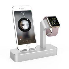 Ivapo ladestation für apple watch stehen für iphone 5 s 6 6 s 7/plus aluminium ladegerät dock station für apple watch für iphone