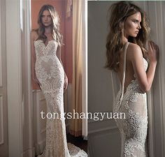 2016-New-Noble-Wedding-Dress-Mermaid-Sweetheart-Lace-Backless-Size-2-4-6-8-10
