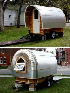 """Another project taking a cue from the shiny metal of Airstream exteriors is the 'Protostoga', built as an extension for the owners' more traditional-looking – but still highly unusual – tiny house. """"It will function as a flex space,"""" creator Ann Holley told Tiny House Blog. """"It can be a guesthouse, vacation cottage, dining room, mobile studio, escape pod, reading room and much more."""""""