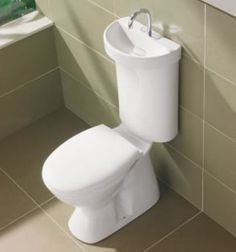 This is actually an awesome idea!!  Not only will you save space... but use less water!! This sink/toilet combo uses the water you wash your hands to fill up toilet bowl!!! SMART!