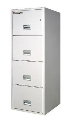 """SentrySafe 2 Hr Fireproof Key Lock 4 Drawer Letter File Safe 4G2510XX Color: Lt. Gray by SentrySafe. $1339.78. 4G2510L Color: Lt. Gray Features: -Plunger key lock.-UL Classified Fire Endurance (2 hours at 1700°F).-Holds and protects legal size documents.-UL Classified explosion hazard resistance.-Impact: UL Classified 30 foot drop test.-Drawer-specific """"lock/unlock"""" provision, Lined interior conceals cabinet insulation and protects contents from unwanted dust.-R..."""