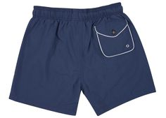 Diverso Dark Blue Piping Swim Shorts: Crafted in Italy and featuring piping detail at the pockets - the 'Piping' Swim Shorts are a brand new product for the summer season.  -The front pockets and buttoned back pocket is completely trimmed with contrast nylon piping adding a discreet colour contrast to the shorts. -The internal is realised in a mesh lining and also features a small concealed pocket.