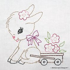 Vintage Donkey Cart with Flowers Machine by MommysApronStrings