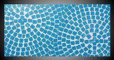 Modern Acrylique Peinture Abstrait Contemporain sur Toile Art Deco Nouveau Carrés Blanc et Bleu Original 120 x 60
