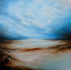Lona grande abstraído pintura paisaje por SimonkennysPaintings