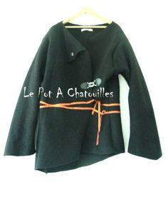 Veste Gilet en laine bouillie par Le Pot A Chatouilles - thread