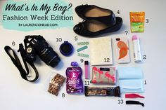 What's In My Bag: Fashion Week Edition 1.Shiseido Pureness Oil-Control Blotting Papers.  2.Evian Mineral Water Spray.  3.Emergen-C.  4.Ballet Flats.  5.Bandages.  6.Camera.  7.Snacks.  8.Jouer Lip Gloss in Peony.  9.Compact Mirror and Brush Combo.. 10.Wallet. I usually carry a smaller purse, so I love this compact Kate Spade wallet that I've had for a couple years now. The flamingo print just makes me smile. 11.Pocket Notebook.  12.Seamless Hair Ties.
