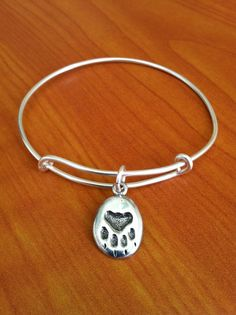 Paw Print Expandable Bangle Bracelet, Dog, Cat, Charm, Sterling Silver, Wire, Alex and Ani inspired, Bangle Bracelet on Etsy, $18.00