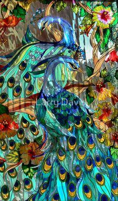 """Glass Peacocks"" - photo by Larry Davis"