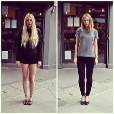 #pushwears with Cass and Becky. All black look versus dogtooth patterning.