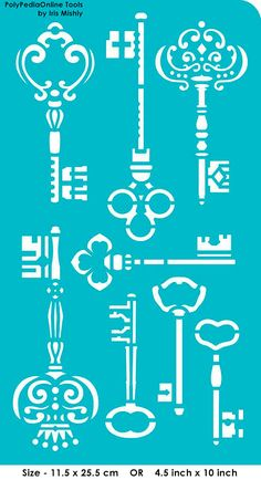 Stencil Stencils Templates Keys self-adhesive por irismishly