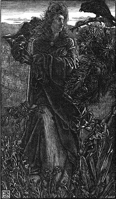 "A valkyrie speaks with a raven in a century illustration of the Old Norse poem Hrafnsmál (""raven song"") by Anthony Frederick Augustus Sandys/looks like a VOLVA, not a Valkyrie Germanic Tribes, Old Norse, Norse Pagan, Wiccan, Magick, Legends And Myths, Crows Ravens, Royal Academy Of Arts, Norse Vikings"
