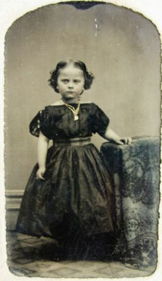 Antique Civil War Era Tintype Photo Cute Girl Anna Maffrey in Pretty Hoop Dress | eBay