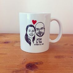 Custom Portrait Mug @lilimandrill www.lilimandrill.fr @etsy #coupleportrait #EtsyGifts #bachelorette #etsywedding #wedding #custommug #valentinesday #valentine #giftforcouple #gift #weddinggift #DifferenceMakesUs #mondaymorning #engagement #mug #coffeemug
