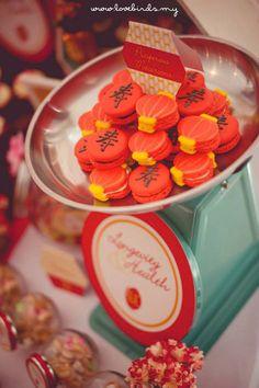 Asian Inspired 70th Birthday Party via Kara's Party Ideas : Macaroons chinese lanterns