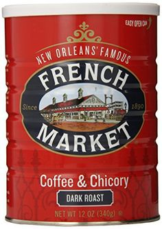 FRENCH MARKET Coffee and Chicory, Dark Roast, 12 Ounce Can - http://teacoffeestore.com/french-market-coffee-and-chicory-dark-roast-12-ounce-can/