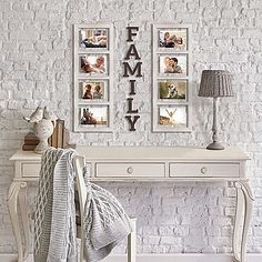 Create a charming gallery of memories with the Family 8-Piece Picture Frame Set from Wallverbs. It includes 2 windowpane-style collage frames, each holding 4 photos, plus 6 letters that spell out family.