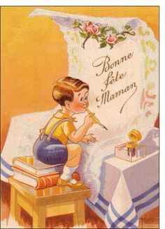 Carte Bonne fête maman avec un petit garçon pour envoyer par La Poste, sur Merci-Facteur !