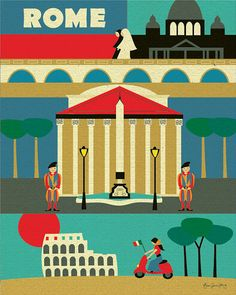Rome, Italy Illustration Collage - European Travel  Poster Print  Art for Home, Office, Nursery -  style E8-O-ROM