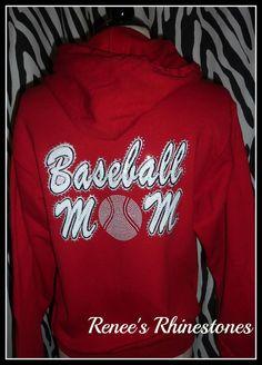 baseball mom hoodie rhinestone baseball mom by RenesRhinestones, $39.99