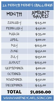 We're taking the 12 Month Money Challenge from @Whitney Clark Clark Clark Clark Clark Clark Carlson! These amounts are SO easy to set aside. We are going to do this per bi-weekly paycheck!