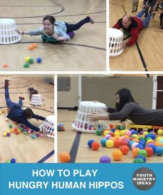 Get some carpet dollies or scooter boards with handles and make this happen. You can use long bungee cords like these or ropes to pull them back after they have collected as many balloons or ball pit balls as possible. Kids will never forget this. Here are the rules: 1. A player is pushed by …
