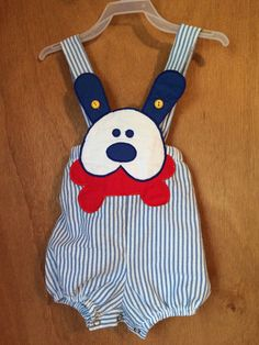 Vintage 6/9 months puppy overalls by JTreeNeedfulThings on Etsy