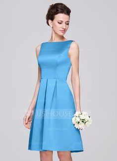 A-Line/Princess Scoop Neck Knee-Length Satin Bridesmaid Dress With Ruffle (007060562) - JJsHouse