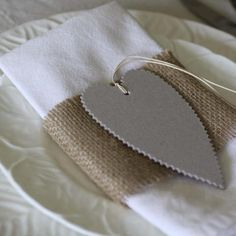 Grey Card Heart Tags - Pack Of 6