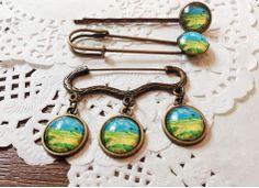 Vintage Handmade Van Gogh The field earring studs/clips/ Ring/Brooch/Clips sur Etsy, 5,95€