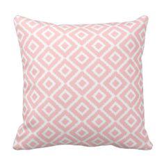 Light Pink Ikat Diamonds Throw Pillow