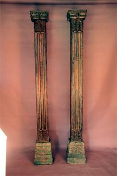 Solid Teak columns with original paint