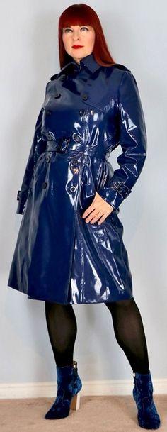Rain Bonnet, Pvc Raincoat, Rain Wear, Double Breasted, Patent Leather, High Neck Dress, Feminine, Lady, Plastic