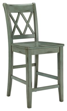 Mestler Counter Height Bar Stool (Set of 2) by Ashley HomeStore, Blue & Green