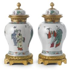 LOUIS XVI STYLE GILT BRONZE MOUNTED CHINESE EXPORT FAMILLE VERTE PORCELAIN COVERED URNS, France, circa 1860's. Chinese Ceramics, Objet D'art, Louis Xvi, China Porcelain, Chinese Art, Chinoiserie, White Ceramics, Art Decor, Glass Art