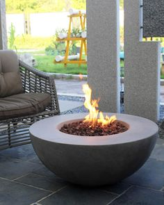 Ocean Rock Lunar Bowl Outdoor Fire Table with Natural Gas Assembly