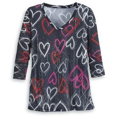 Embellished Heart Doodles Top - Gifts, Clothing, Jewelry, Home Decor and Home Furnishings as Featured in Popular Catalogs | Catalog Favorites