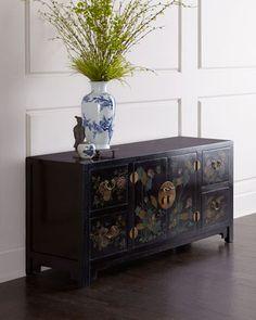 Antique Floral-Motif Cabinet at Horchow.