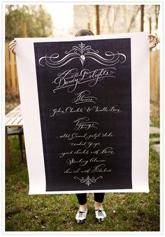 calligraphy menu poster.