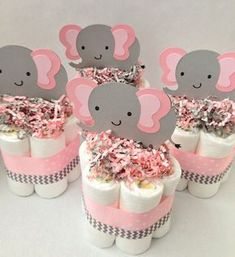 FOUR Pink Grey Elephant Mini Diaper Cakes, Baby Shower Centerpiece, Baby Girl Baby Shower, Pink and Grey Baby Shower, Decoration Elephant Baby Shower Cake, Grey Baby Shower, Elephant Cakes, Baby Shower Cakes, Baby Shower Themes, Baby Shower Gifts, Baby Shower Centerpieces, Baby Shower Decorations, Mini Diaper Cakes