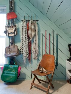 Mount wall hooks vertically to store purses and bags