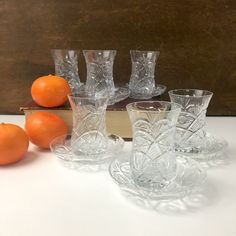 Turkish coffee set - 6 crystal cups and saucers by Turcam Kristal - new in box