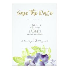 BLUE AQUA INK WATERCOLOUR FLOWER  SAVE THE DATE CARD - romantic wedding love couple marriage wedding preparations