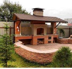 New outdoor patio bbq pergolas ideas Backyard Kitchen, Summer Kitchen, Outdoor Kitchen Design, Backyard Patio, Backyard Ideas, Design Barbecue, Parrilla Exterior, Patio Edging, Gazebo