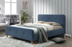 Pat tapitat Malmo Blue   Somproduct Furniture, Bedroom Bed, Home Decor, Blue, Bed, New Builds