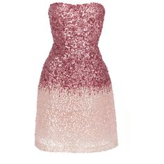 Monique Lhuillier Ombre Sequined Mini Dress (6 018 470 LBP) ❤ liked on Polyvore featuring dresses, pink, ombre dresses, short sequin dress, pink mini dress, short ombre dress and strapless dresses