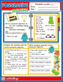 possessive adjectives  worksheets
